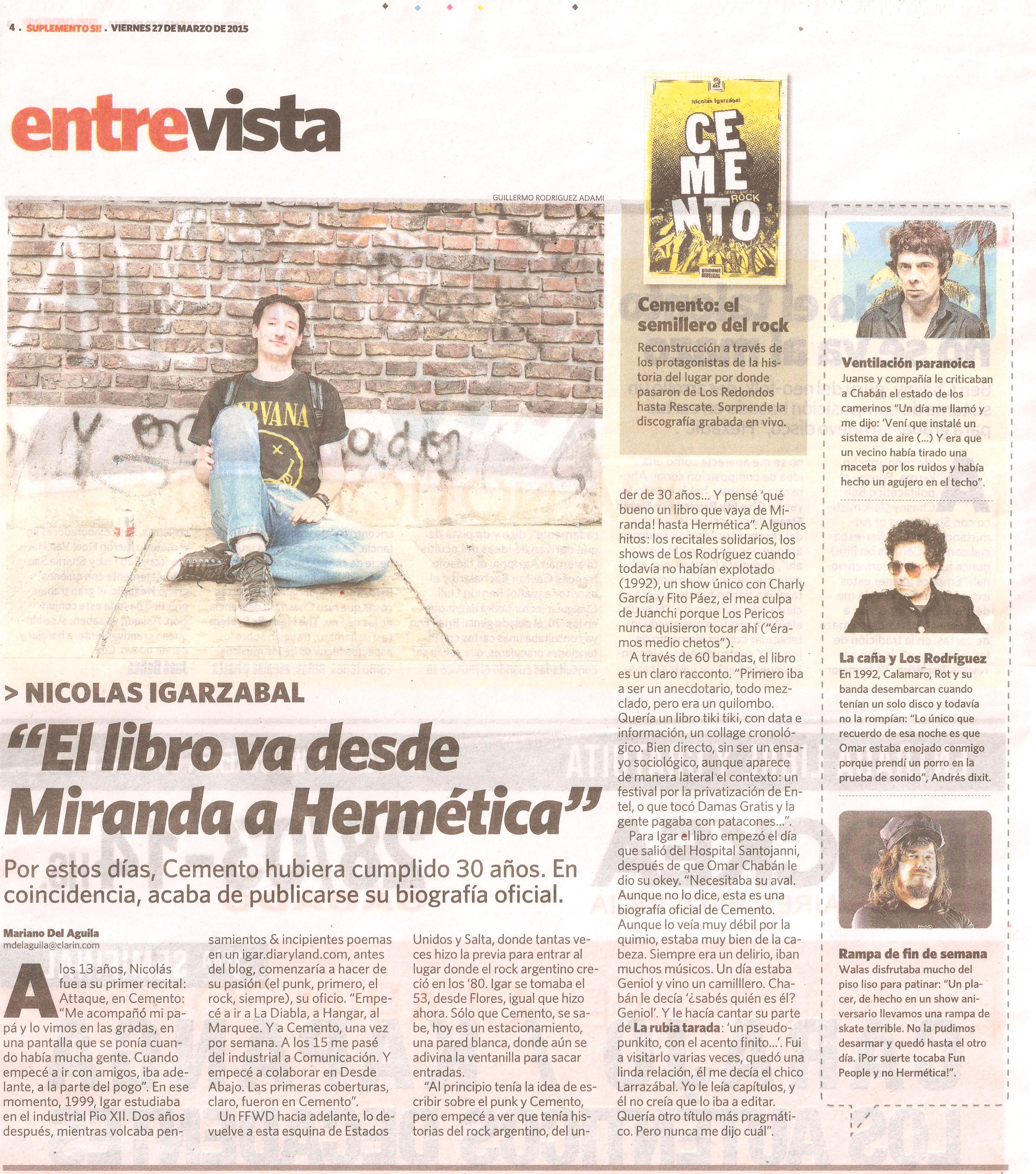 Cemento entrevista a NIcolás en el Sí viernes 27 de marzo