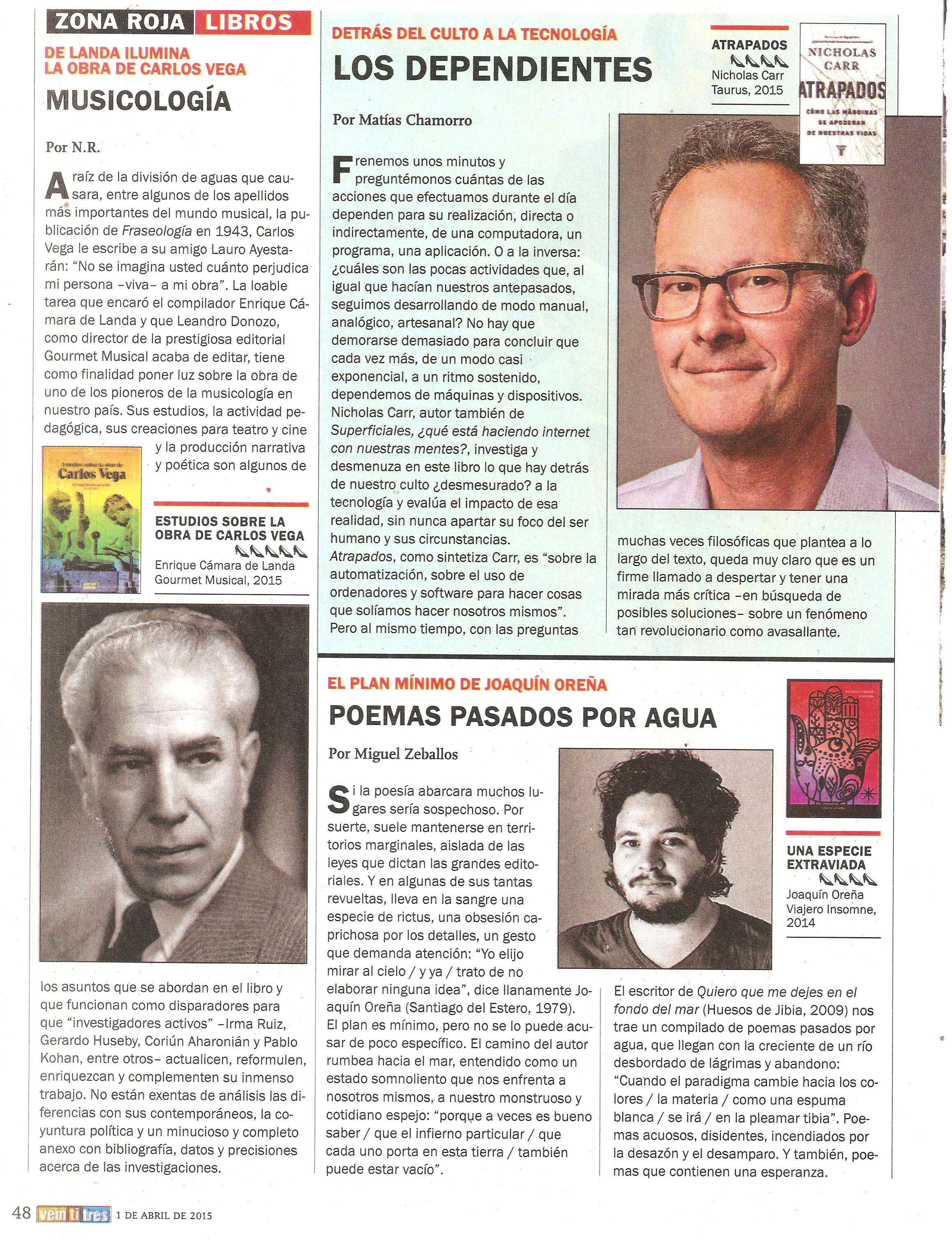Carlos Vega en la revista Veintitrés 2 de abril