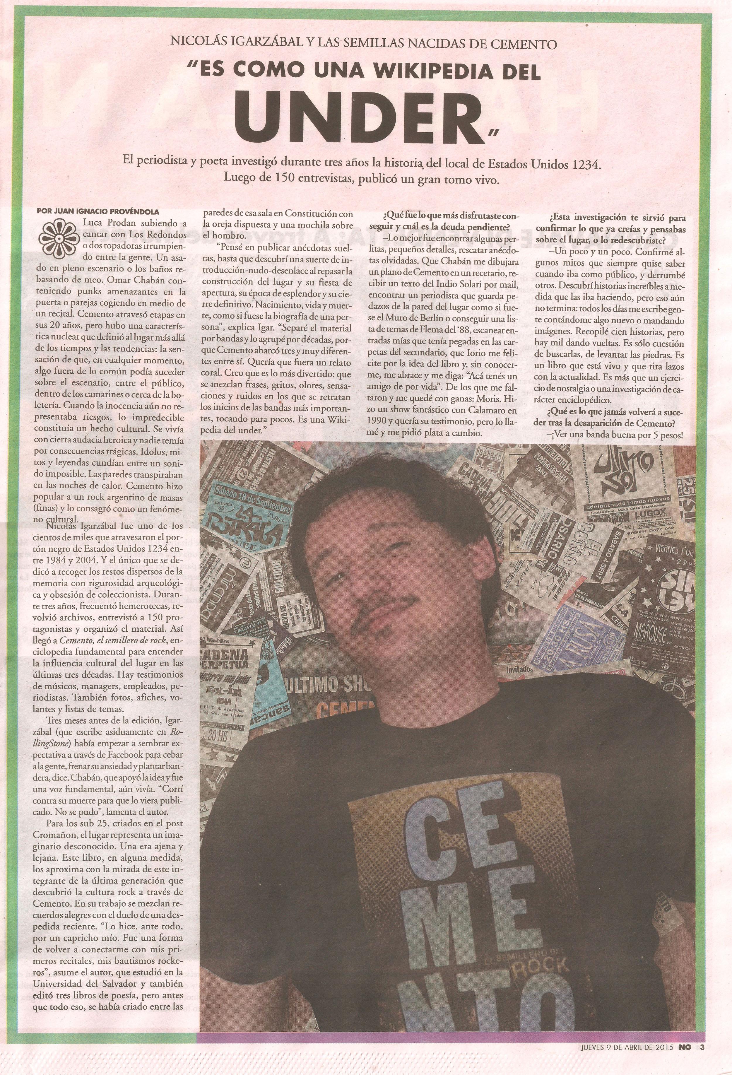Cemento entrevista a Nicolás Igarzábal en el suple NO jueves 9 de abril