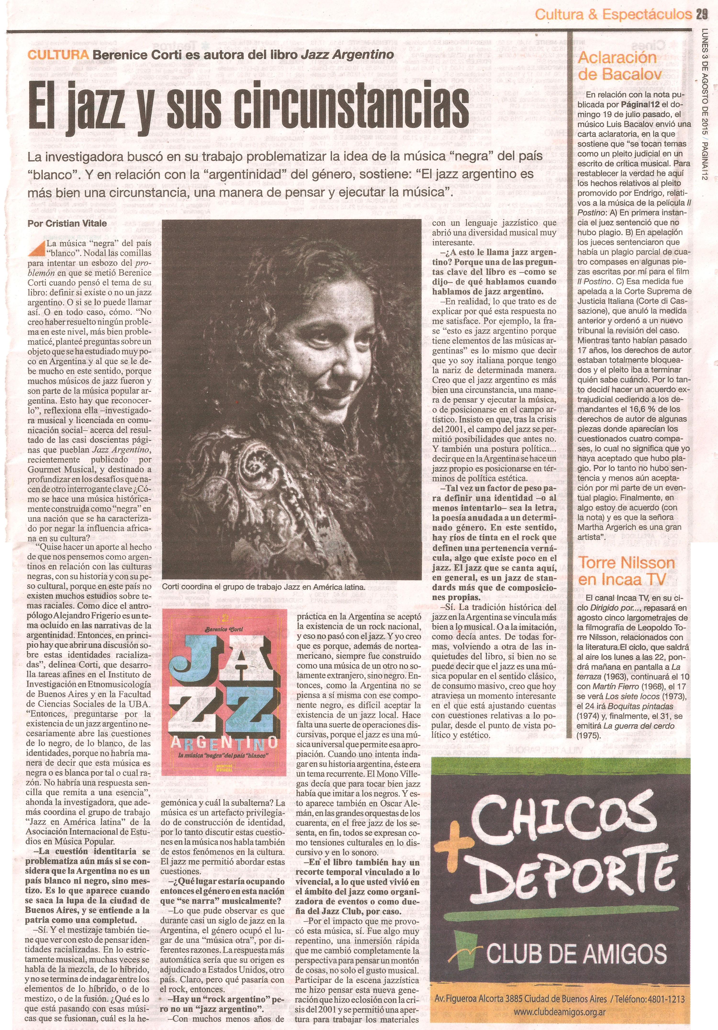 Jazz en Página12 lunes 3 de agosto