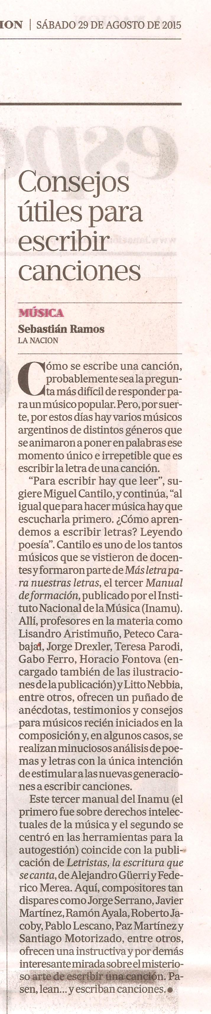 Letristras en el suplemente Espectáculos de La Nación sábado 29 de agosto