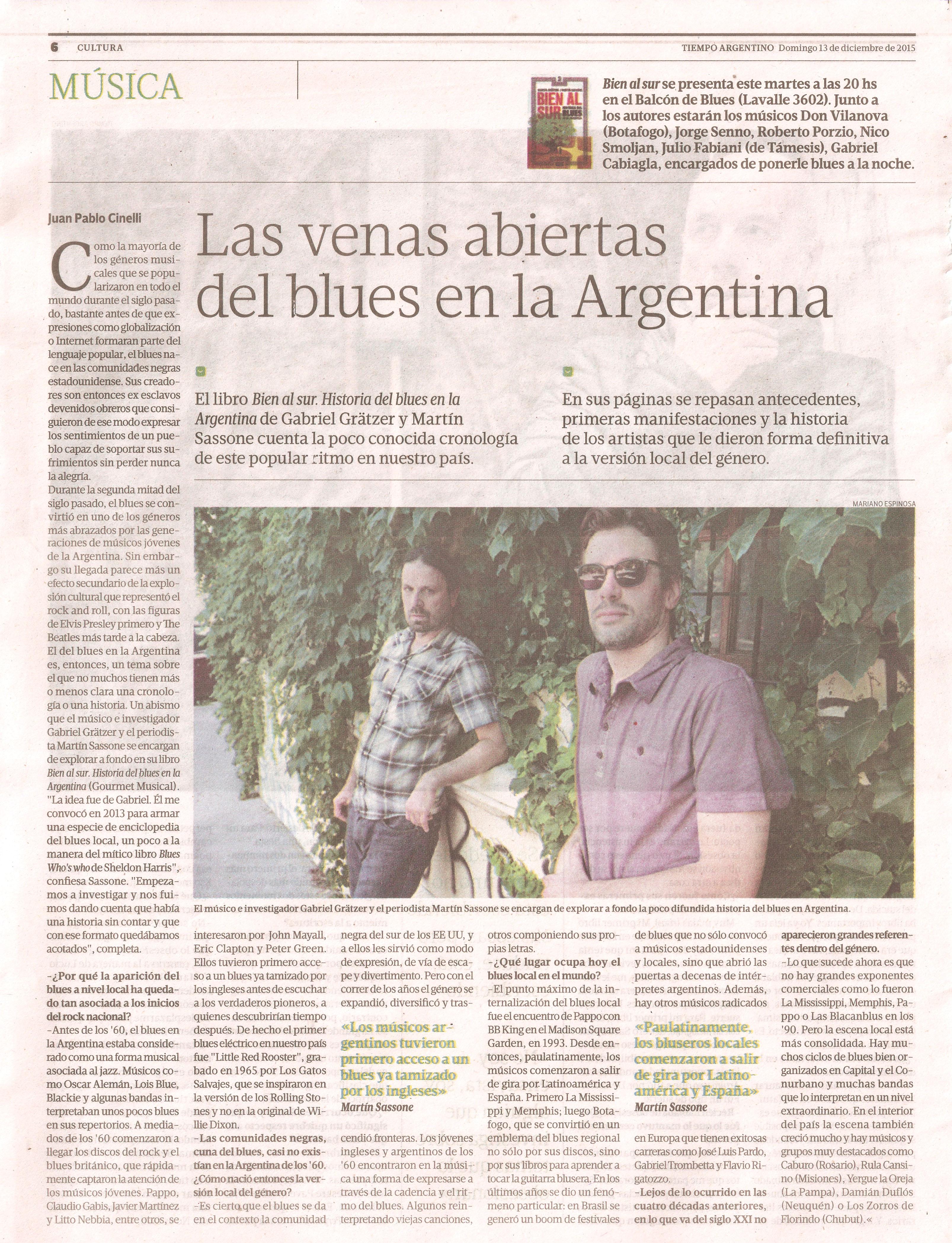 Bien al sur en Tiempo Argentino domingo 13 de diciembre