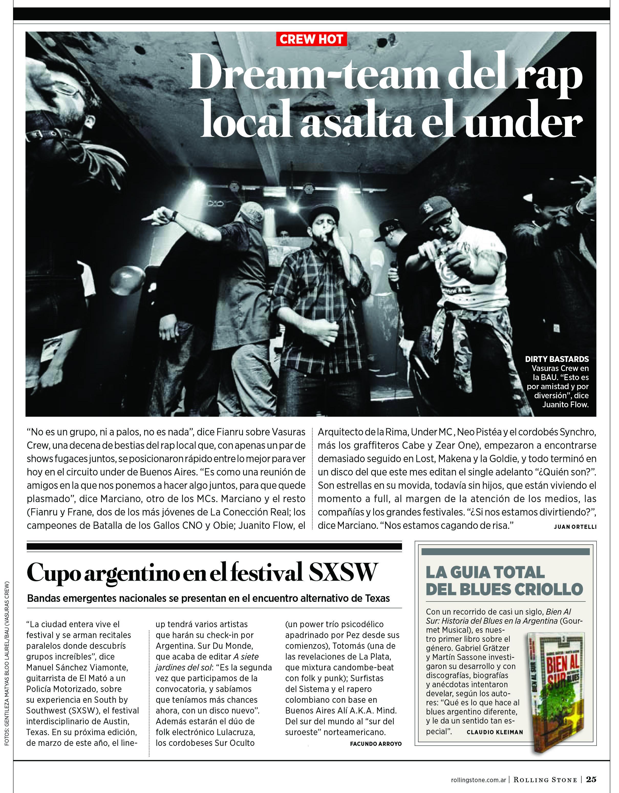 Bien al sur en Rolling Stone de enero copiar