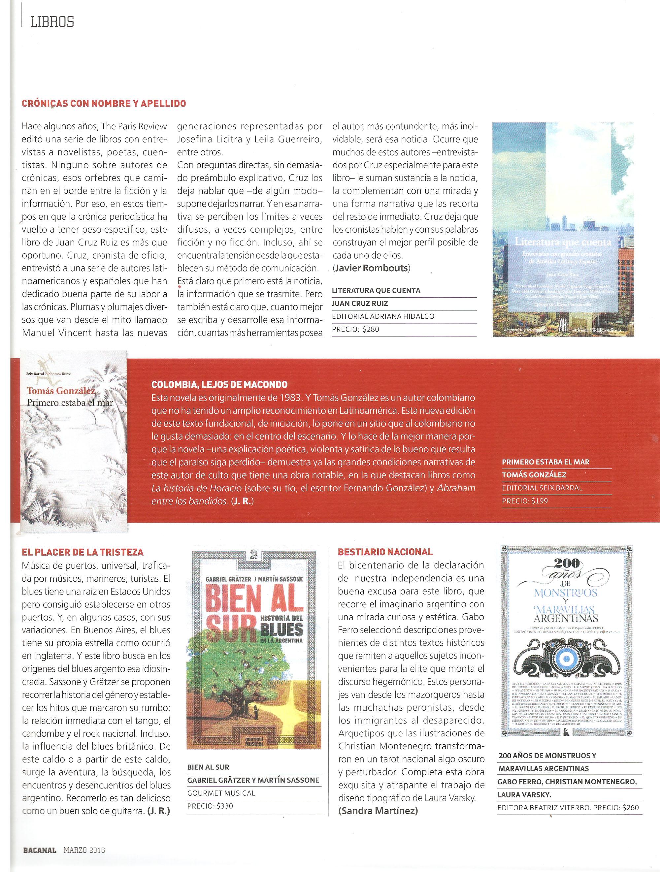 Bien al sur en la revista Bacanal de marzo