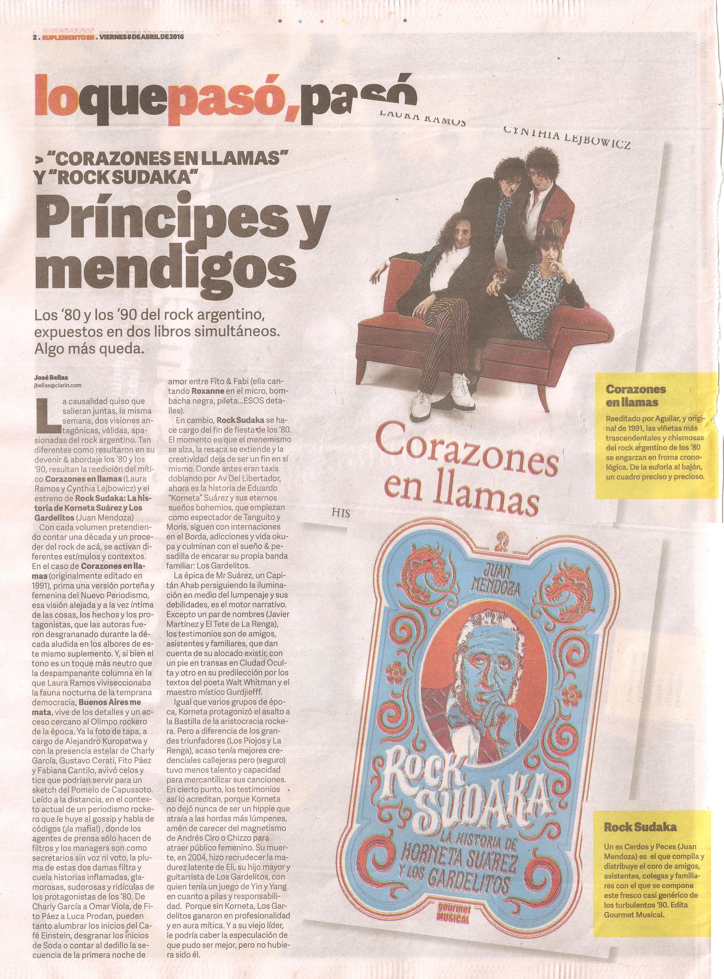Rock sudaka en el Sí! de Clarín viernes 8 de abril